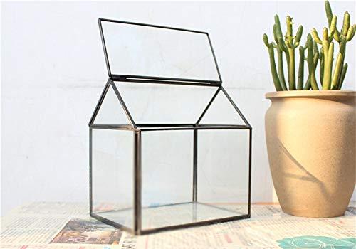 MINGZE Geometrisches Terrarium, Haus-Form, Glas, schließbar, Gewächshäuschen für Sukkulenten/Moos/Farn, mit Klappdeckel (Schwarz)