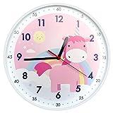 Yudou Kinder-Wanduhr, niedliches Einhorn-Design, leise, nicht tickend, Lernuhr für Mädchen, Schlafzimmer, Klassenzimmer, Wohnzimmer, 30,5 cm, rosa Wanduhr