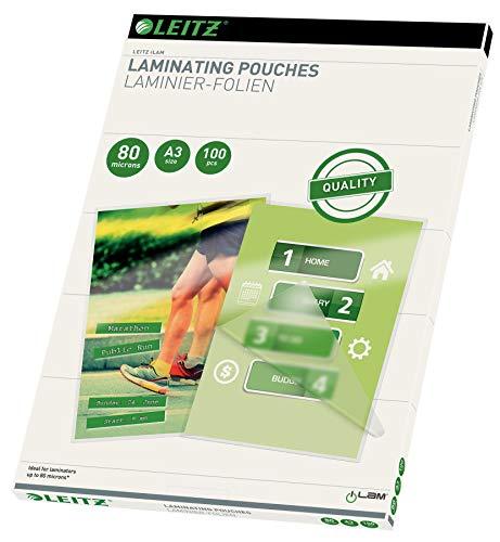 Leitz 33819 Pack de 100 pochettes de plastification A3 80µ