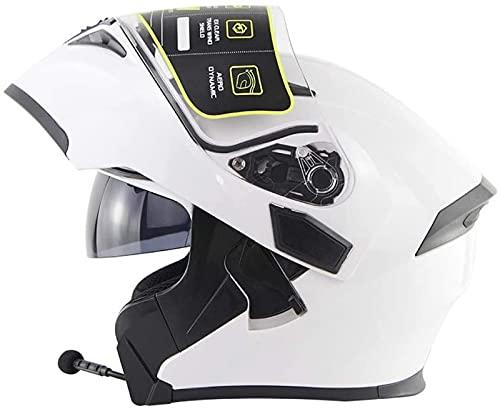 Casco Bluetooth Integrado para Motocicleta Certificado ECE/Dot Casco Tipo Abatible Casco para Motocicleta Bluetooth Modular Casco para Adultos,M=(57~58cm) C