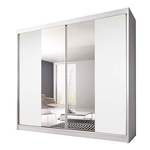 Idzczak Meble Schwebetürenschrank Claudia 13 233 mit Spiegel Kleiderschrank mit Kleiderstange und Einlegeboden Schlafzimmer- Wohnzimmerschrank Schiebetüren Modern Design (Weiß/Weiß + Spiegel)