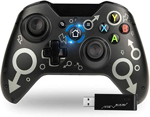 TechKen Wireless Controller per Xbox One joistik per Xbox One 2.4G Senza Fili per Xbox One/Xbox Series X/PS3/PC Design Ergonomico Joystick per PC Doppia Vibrazione con Jack per Cuffie Joypad Xbox One