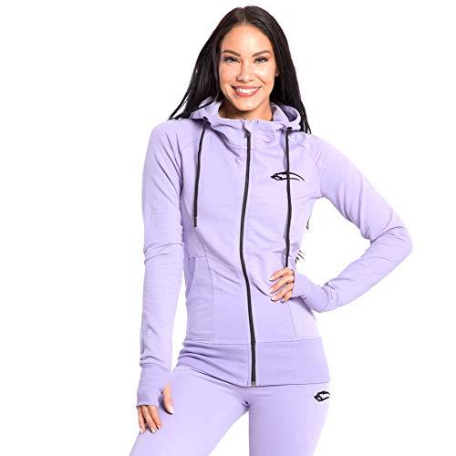 SMILODOX Damen Zip Hoodie 'Delicate'   Laufjacke für Sport Training & Freizeit   Trainingsjacke - Running   Sweatshirt mit Reißverschluss, Farbe:Lila, Größe:L