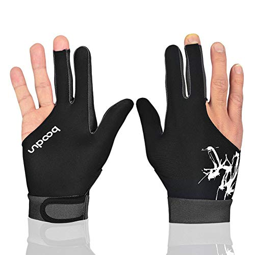 Anser M050912 Man Woman Elastic Lycra 3 Fingers Show Gloves for Billiard Shooters Carom Pool Snooker Cue Sport - Wear on The Right or Left Hand 1PCS (Gray, XL)