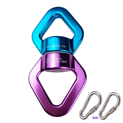 360 ° Rotator Swing Spinner, JIAMEIYI Rotationsgerät Outdoor und Indoor Sicherheit Aluminiumlegierung 360 ° Rotator Swing Spinner Seil Swivel 30KN Kletterrotor (Blau-Lila)