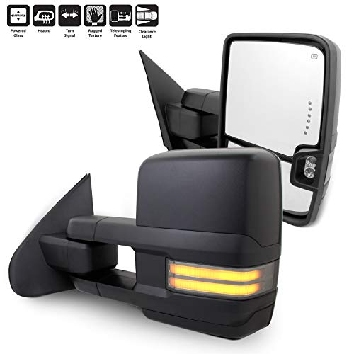 For 14-18 Silverado Sierra Pair of Powered + Heated Glass + Sequential Turn Signal Side Black Towing Mirrors