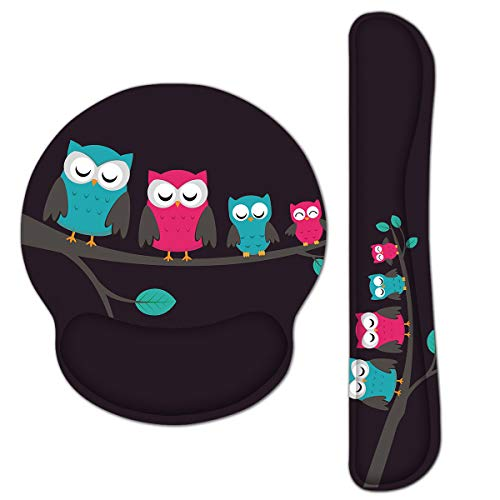 RICHEN Keyboard Wrist Rest and Mouse Pad with Wrist Support, Memory Foam Set for Gaming and Office, Comfortable & Lightweight for Easy Typing & Pain Relief (Cute Owls)