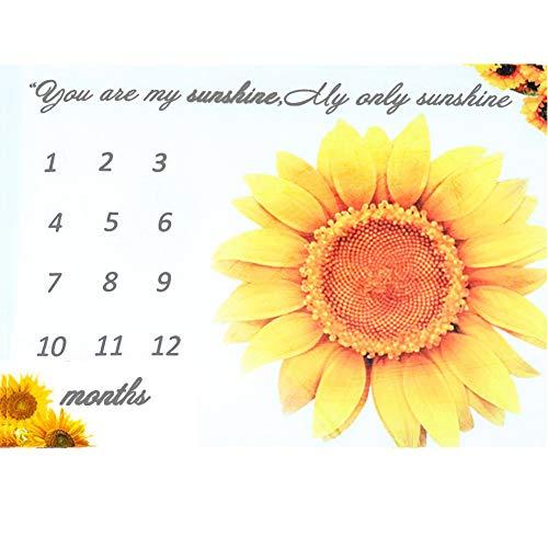 Baby Milestone Blanket Girl, 40×50 Inches Infant Baby Sunflower My Only Sunshine Flannel Fleece Milestone Blanket, Best, Photography Backdrop Photo Prop for Newborn Boy