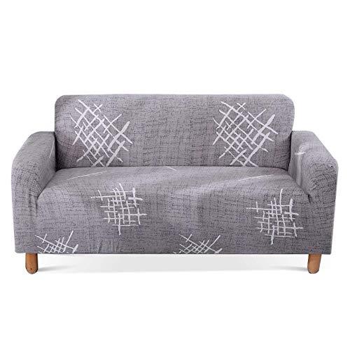 Carvapet Elastischer Sofabezug Sofahusse Gedrucktes Muster Couchbezug Sofa Couch Überwürf (Graues Muster, 2 Sitzer)