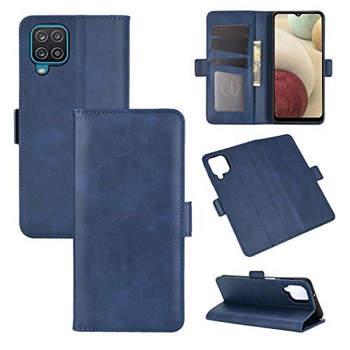 AKC Funda Compatible para Samsung Galaxy A12/M12 Carcasa Caja Case con Flip Folio Funda Cuero Premium Cover Libro Cartera Magnético Caso Tarjetero y Suporte-Azul
