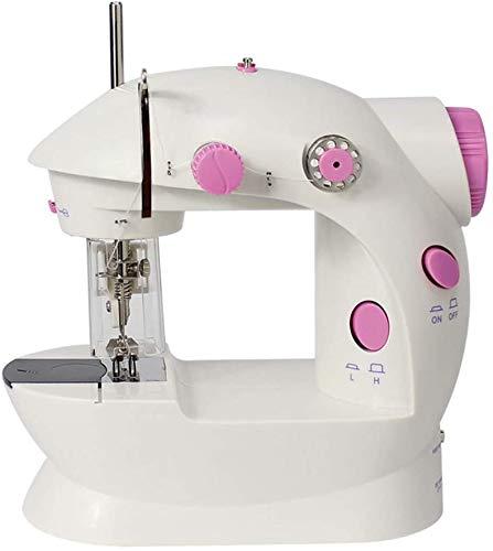 HAITRAL Mini máquina de coser portátil, doble línea, dos velocidades, con funda, color rosa