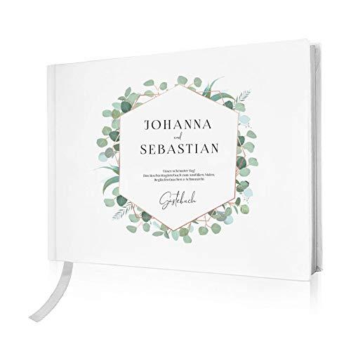 FORYOU24 Hardcover Gästebuch Hochzeit personalisiert 80 Seiten Premium Papier 302 x 218 mm Motiv 03 Hochzeitsgästebuch Hochzeitsalbum Hochzeitsgeschenk