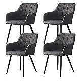 CLIPOP Juego de 4 sillas de Comedor de Piel sintética con Respaldo y reposabrazos, sillas de recepción para el hogar y la Oficina, Gris Oscuro, 60 * 56 * 82 CM