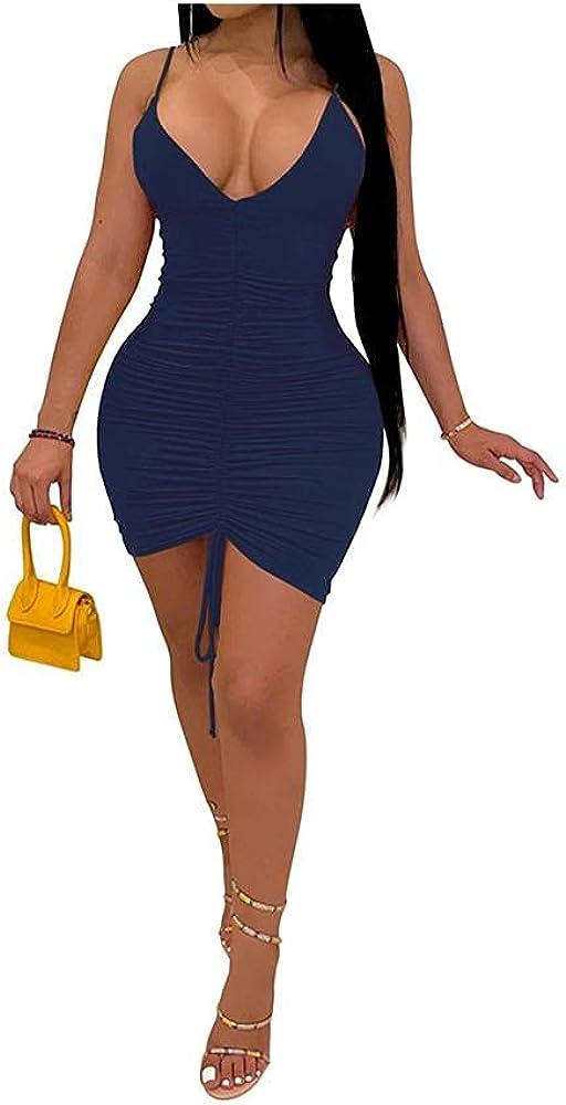 ZOCANIA Sexy Spaghetti Strap Tank Dress for Women V Neck Backless Club Party Mini Bodycon Dress Plus Size Dark Blue XL