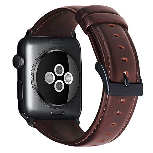 Armband für Apple Watch 42mm(44mm Series 5/4), Apple Watch Armband Leder Armband Wax Series Vintage Echtleder Uhrenarmband für iWatch Series 1, Series 2, Series 3, 4, 5, iWatch Sport Edition & Nike+