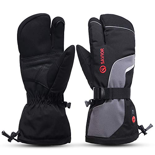 Savior Heated Gloves for Men Women 3-Finger Ski Mitten 7.4V Rechareable Battery Gloves for Skiing … (M)