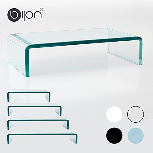 bijon® TV Aufsatz Glas Bildschirm-Erhöhung | PC Monitor-Erhöhung, Schreibtisch-Aufsatz für Laptop Erhöhung, Monitor-Erhöhung | (B/T/H) 800x300x130mm - klar