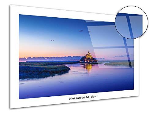 DECLINA plexiglas, decoratieve lijst op acrylglas, wanddecoratie, opdruk op plexiglas, groot formaat, 50 x 30 cm 80x50 cm Wit.