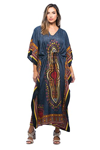 Riviera Sun Long Dashiki Caftan/Caftans For Women,Black,2X/3X