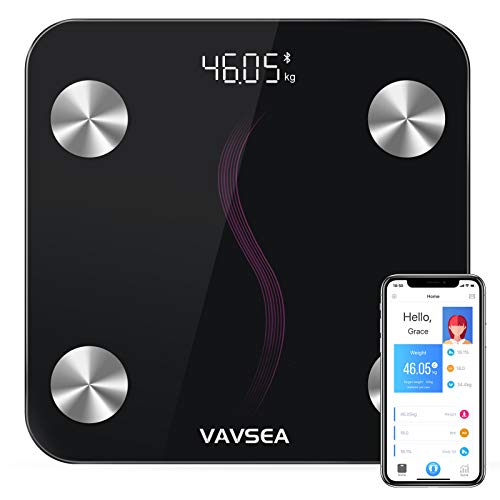 VAVSEA Körperfettwaage Digital Personenwaage Bluetooth Körperanalysewaage mit App Smart Waage für Körperfett, BMI, Muskelmasse, Protein, BMR,Ultraschlanke waage mit Hochpräzisions-Sensoren