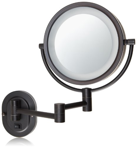 Jerdon HL65BZD 8-Inch Lighted Direct Wire Wall Mount Makeup Mirror with 5x Magnification, Oil Rubbed Bronze New Jersey