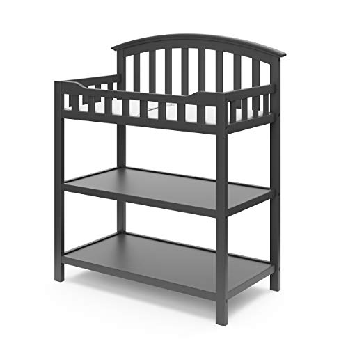 Graco Changing Table with Water-Resistant Change Pad & Safety Strap, Multi Storage Nursery Changing Table for Infants or Babies, Gray