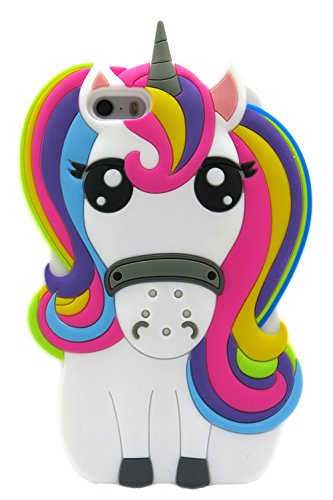 3C Collection Fundas iPhone 5 Silicona Unicornio, Fundas iPhone 5S Silicona Unicornio, Funda de Silicona Animales Suave Unicornio 3D para Fundas iPhone 5 y iPhone 5S Carcasas Dibujos Animados