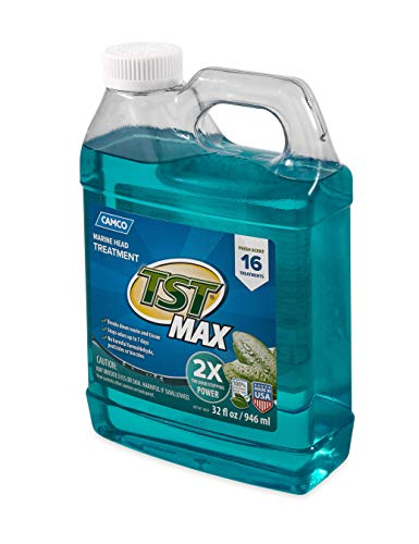 Camco TST Clean Scent Marine Head Toilet Treatment, Formaldehyde Free, Breaks Down Waste and Tissue, Treats up to 16 - 40 Gallon Holding Tanks (32 Ounce Bottle) - 41362
