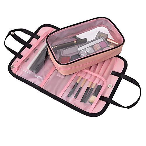 CXSTWIN Multifunktionale Tragbare 2-In-1-Reise-Make-Up-Tasche, wasserdichte, Waschbare Kosmetiktasche für Frauen, Kulturbeutel Mit Kleinem, Klarem Make-Up-BüRstenriemen