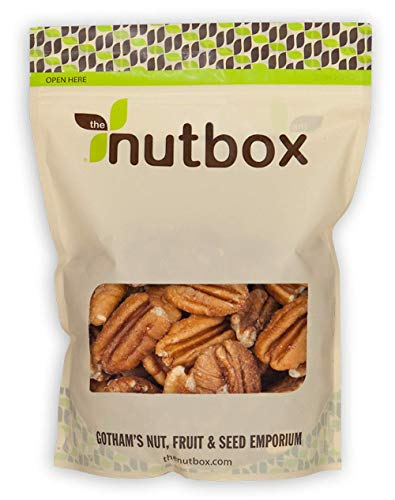 Nutbox Raw Pecans, Jumbo Halves 32 ounces (2 Pounds)   Unsalted, No Shell, Naturally Gluten Free, No Preservatives, Non-GMO, Premium, Packed Fresh in Resealable Bulk Bag
