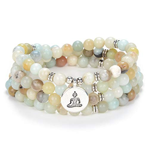 oasymala Zen Buddha Necklace Mala Prayer Stone Beads 108 Bracelet with Yoga Lucky Charm for Meditation (Amazonite)