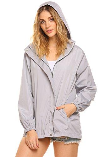 Womens Lightweight Waterproof Raincoat Hoodie Windproof Rain Jacket Light Grey M