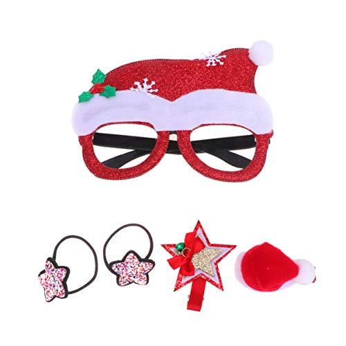 Amosfun Óculos de Natal Moldura Guirlanda Pinos de Cabelo Natal Amarras de Cabelo Rabo de Cavalo Suporte de Natal Divertido Festa Óculos, Santa Hat, 16 * 16 * 4cm