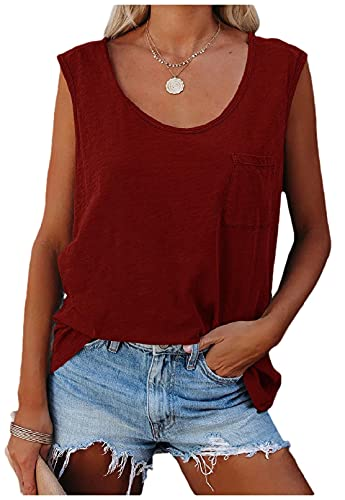 Mujeres cuello redondo Casual Racerback Color sólido Slim Fit Chalecos