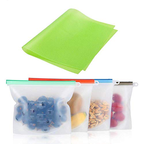 Reusable Silicone Food Storage Bags | Sandwich, Sous Vide, Liquid, Snack, Lunch, Fruit, Freezer Airtight Seal Bag| BEST for Preserving and Cooking | Zero Waste Food Bags with Large Refrigerator Pad
