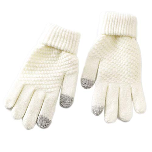 Vdn Djvn Handschuhe und Fäustlinge, 2-teilig, gestrickt, Unisex, Winterhandschuhe, gestrickt, Touchscreen, einfarbig, gefüttert, Plüsch, 19 x 10 cm, Schwarz, Grau, Weiß, Gelb erhältlich