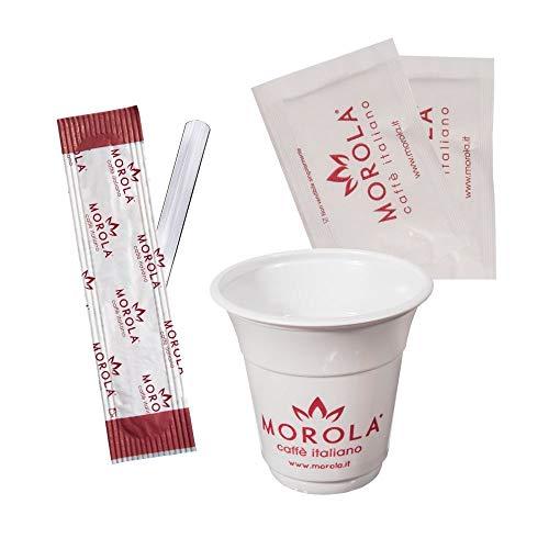 Kit de café desechable de 450 piezas – Juego de accesorios de café de plástico – 150 vasos de 80 ml, 150 bolsitas de azúcar blanco y 150 paletas de plástico