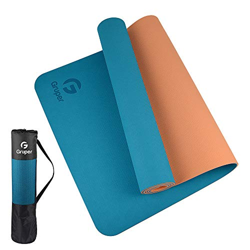 Gruper TPE Yoga Mat,Pro Yoga Mat Eco Friendly Non Slip Fitness Exercise Mat with Carrying Strap,Workout Mat for Yoga, Pilates and Floor Exercises (Blue + Orange, Thickness-6mm(1/4 inch))
