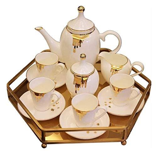 HLZY Juego de Tazas de té de Lujo, Juego de té portátil Juegos de té de cerámica Conjunto de café Americano Tarde Juego de té/Europea de la Sala Principal de la Bandeja Decoración