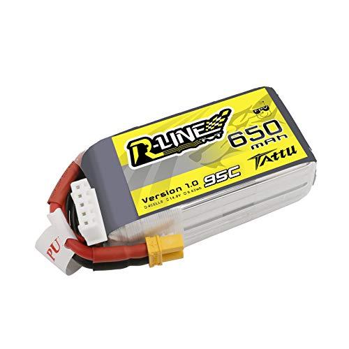 TATTU R-Line 650mAh 14.8V 4S 95C Batteria Lipo per FPV multirotore dalla Taglia 100 alla 180