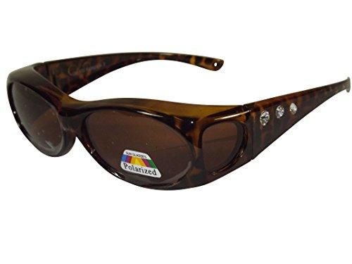 Sonnen-Überbrille Leo m. Strass UV400 Polarisiert f. Brillenträger Polbrille
