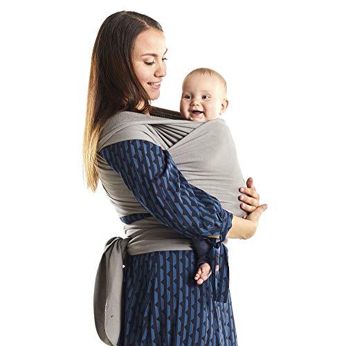 Boba Portabebés Envolvente, Serenity Gris Claro - Cabestrillo Elástico Original Para Bebés, Perfecto Para Bebés Recién Nacidos Y Niños De Hasta 35 Libras