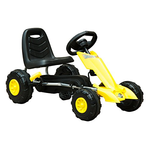 Homcom Kart à pédales Go-Kart Enfants avec Frein 88L x 51l x 48H cm Jaune Noir