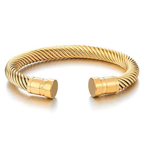 iMECTALII Herren Damen Edelstahl Goldfarben Schraube Nägel Verdrehten Stahlkabel Armreif Armband, Elastische Verstellbare
