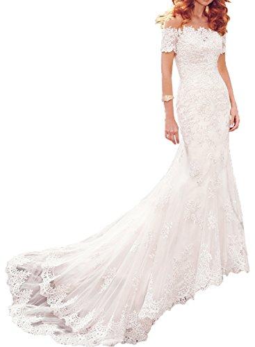 La_mia Braut Damen Elfenbein Spitze Hochzeitskleider Brautkleider Brautmode Trumpet Meerjungfrau Still mit Jaket -58 Elfenbein