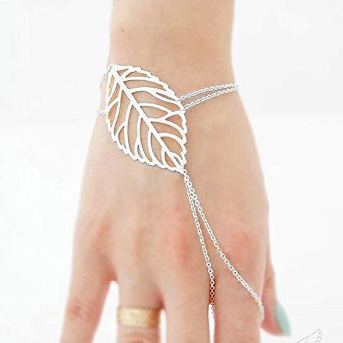 TseenYi Boho Leaf Finger Ring Bracelet Gold Slave Bracelet Ring Adjustable Hand Chain Jewelry for Women Girls (Silver)