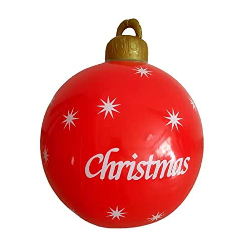 ZHOUBA Ornamenti natalizi giganti per esterni, decorazioni gonfiabili a palla, 60 cm in PVC decorativo grande palla da appendere per cortile, vacanze 2