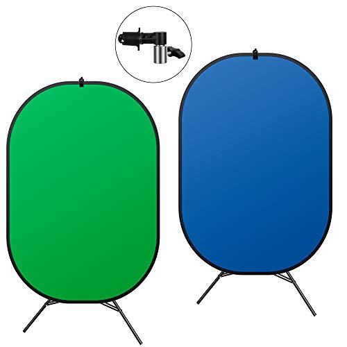 Pantalla 2 en 1 Chromakey verde con soporte, 1,5 x 2 m plegable pop-up azul/verde fondo fondo para estudio fotográfico, grabación de vídeo