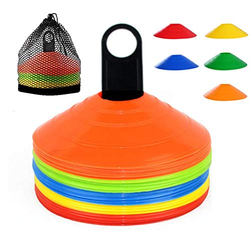 YOQXHY Soccer Cones (50 Pcs) Disc Cone Agility Training Sports Cone Plastic with Carry Bag & Holder for Kids Football Basketball Drills Field Markers, (5 Colors)