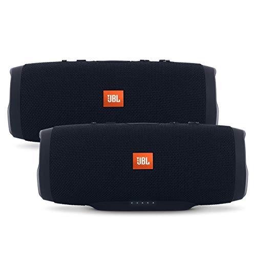 JBL Charge 3 Waterproof Portable Bluetooth Speaker - Pair (Black/Black) (Renewed)